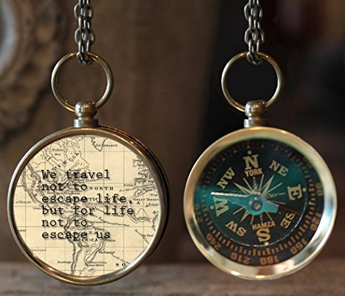 """We travel not to escape life, but for life not to escape us"" Quote Photo Compass, Travel Compass, Wanderlust Compass, Compass Jewelry, Photo Jewelry, Gift Idea, Travel Gift, Christmas Gift"