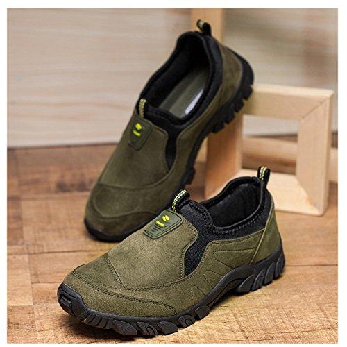 Die zufällige leichte Wildleder-im Freien rutschfeste ältere gehende Turnschuh-Schuhe der Scurtain-Männer Grün-1