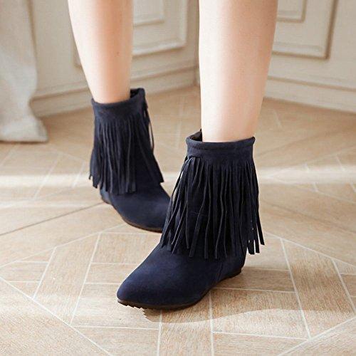 Carolbar Womens Fashion Pekade Tå Chic Dragkedja Tofsar Kilklack Klänning Boots Blue