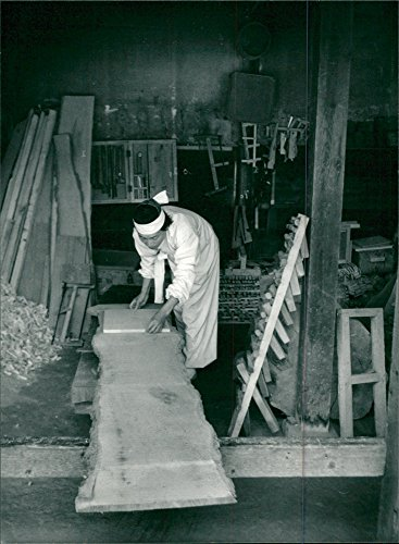 Vintage photo of Furniture cutter at work in Korean Folk Village outside Seoul ()