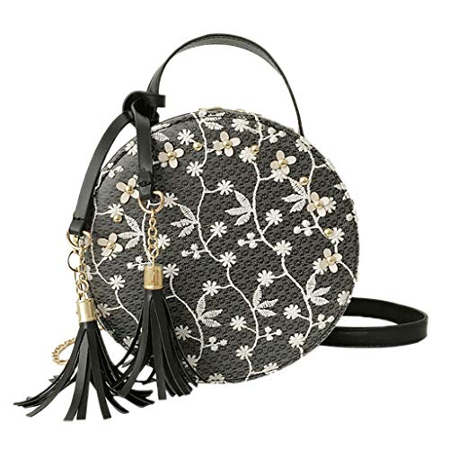 (Crossbody Bag Women Embroidery Shoulder Bag Round Summer Beach Purse and Handbags with Tassel (Black))
