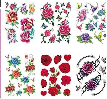 lijinjin 4 Unids Original Lavanda Rama De Olivo Flor Tatuaje Falso ...