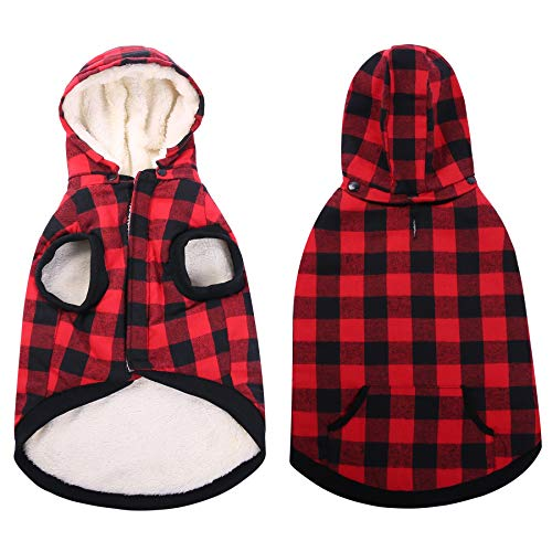 - ASENKU Dog Winter Coat Thicker Fleece Dog Hoodie Jacket British Plaid Pet Warm Outfit with Removable Hat Windproof Vest for Small Medium Large Dogs