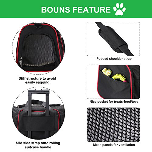 Soft Side Pet Carrier, Pet Carrier for Dogs & Cats, Expandable Soft Pet Carrier with Removable Fleece Mat for Easy Carry on Luggage, Travel Bag for Small Animals, Portable Handbag, Black by wot i (Image #3)