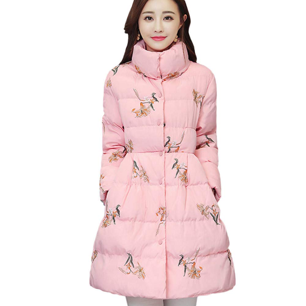 PENATE Women's Slim Down Jacket Girl Floral Winter Warm Cotton Padded Coat Parka