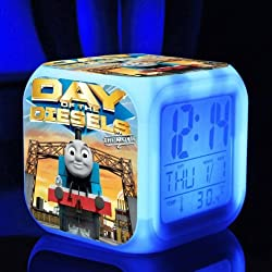 The Thomas Train and His Lovely Friends Digital Alarm Desktop Clock with 7 Changing LED Clock for Kids (Style 4)