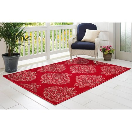 Mohawk Home Decorators (Versatile Rug for Outdoor and Indoor Use with High/low loop woven and Made of durable Polypropylene (5'4x7, Red)
