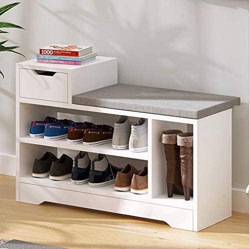 Vanimeu White 3 Tier Shoe Racks Storage Bench with Seat Cushion and Drawer Hall Bench Entryway Hallway Furniture Wooden