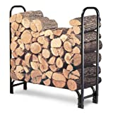 Firewood Rack, Durable, Tubular Steel Coated With Weatherproof Finish, Bundle With Ebook For Home Furniture
