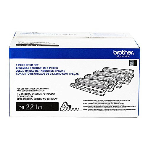 Brother DR221CL 4-Piece OEM Drum Unit (15,000 Yield) - BK/C/M/Y 4 Drum Unit