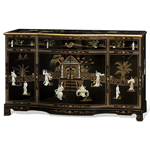 China Furniture Online Black Lacquer Sideboard, Hand Painted Courtyard Scene with Mother Pearl Courtesans Inlay Cabinet in Black Floral Hand Painted Console