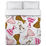 One Bella Casa Pretty Girl/Party Dresses Lightweight Duvet Cover by Timree Gold, Full/Queen