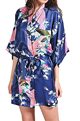 Asherbaby Women's Kimono Short Robes Peacock & Blossoms Silk Chemise Bathrobe