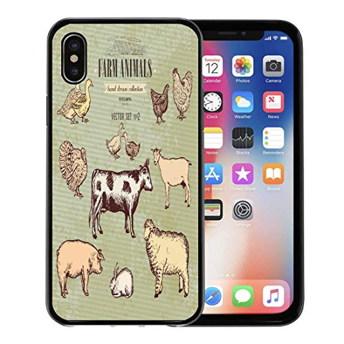 Semtomn Phone Case for Apple iPhone Xs case,Etching Farm Animals Vintage Collection Cow Pig Goat Sheep Chicken Duck Goose Turkey Rabbit Lamb for iPhone X Case,Rubber Border Protective Case,Black