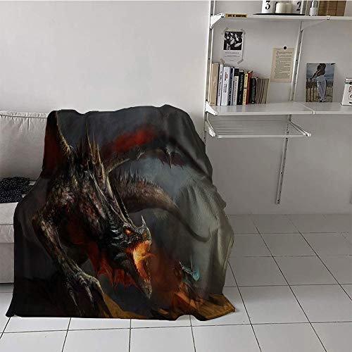 Khaki home Children's Blanket Spring Lightweight E x tra Big (50 by 70 Inch,Medieval,Fantasy Scene Fearless Knight with Dragon Mythology Art Antique,Dimgrey Charcoal Grey Orange