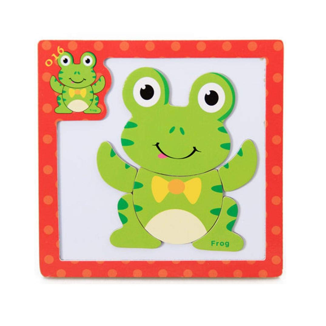 Roysberry Toys - Wooden Educational Magnetic Preschool Frog 3D Puzzle Shape Color Recognition Stereoscopic Alphabet Puzzle Toys - Birthday Gift Toy Jigsaw Puzzles for Kids