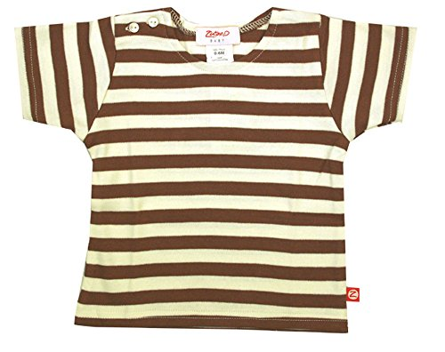 Zutano Chocolate/Cream Stripe Short Sleeve T-shirt (12m (6-12 months))