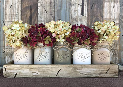 Mason Canning JARS in Wood ANTIQUE WHITE Tray Centerpiece with 5 Ball Pint Jar -Kitchen Table Decor -Distressed -Flowers (Optional)- SAND, THISTLE, PEWTER, CREAM, COFFEE Painted Jars (Pictured) by Wooden Hearts