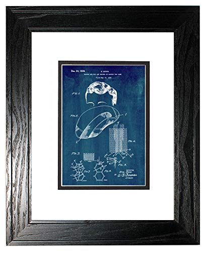 Toupee and Wig Patent Art Midnight Blue Print in a Black Pine Wood Frame with a Double Mat (13