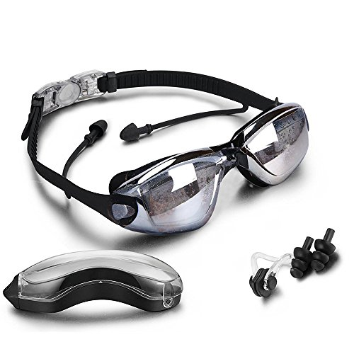 Adult Swimming Goggles Anti Fog, UV Protection, Contain Goggle Case/Nose Clip/Ear Plugs,Comfortable Fit for Adult Men Women Youth Kids(Black)