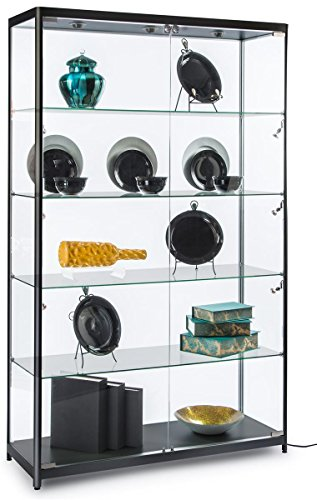 Displays2go 48'' Glass Display Case, 9 LED Lights, 4 Shelves, Lockable Hinged Doors - Black (LESC4816BK) by Displays2go