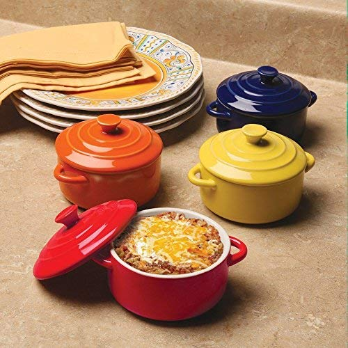 BW Brands Colorful Stoneware Mini Casserole Pots With Lids - Set of 4,Assorted (16 Oz Baking Dish)