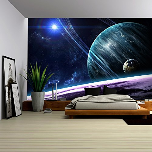 wall26 - Universe scene with planets, stars and galaxies in outer space showing the beauty of space exploration - Removable Wall Mural | Self-adhesive Large Wallpaper - 66x96 (Outer Space Wall Mural)