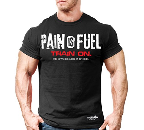 Monsta Clothing Co. Men's Pain is Fuel: Train On. T-shirt Large (Division Womens V-neck)