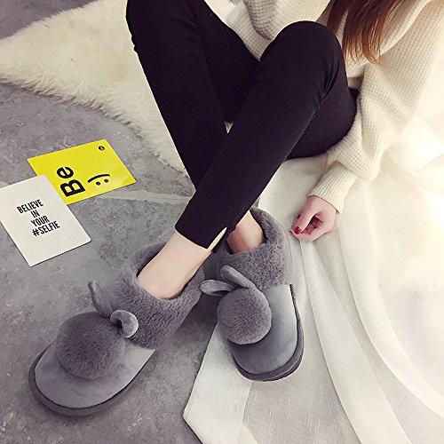 CWAIXXZZ pantofole morbide Pantofole di cotone femmina pacchetto completo con spessi inverno inverno bella calda felpa soggiorno pantofole princess ,36, sfera di peluche scarpe di cotone rosso