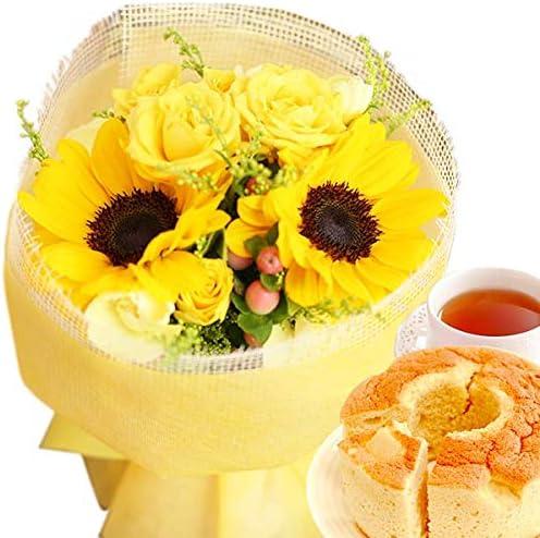 父の日 の プレゼント おいもやケーキ洋菓子 花とスイーツ アレンジメント生花 父の日ギフト (夏限定・ひまわりのお花)