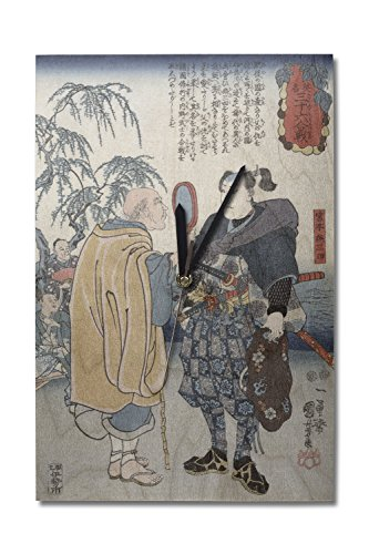 Lantern Press Samurai Miyamoto Musashi - Japanese Wood-Cut (10x15 Wood Wall Clock, Decor Ready to Hang)