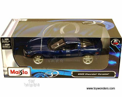 2005 Chevrolet Corvette C6 Coupe (Maisto - Chevrolet Corvette Coupe C6 (2005, 1/18 scale diecast model car, Metallic Blue) 31117 diecast motorcycles and cars by DiecastTW)