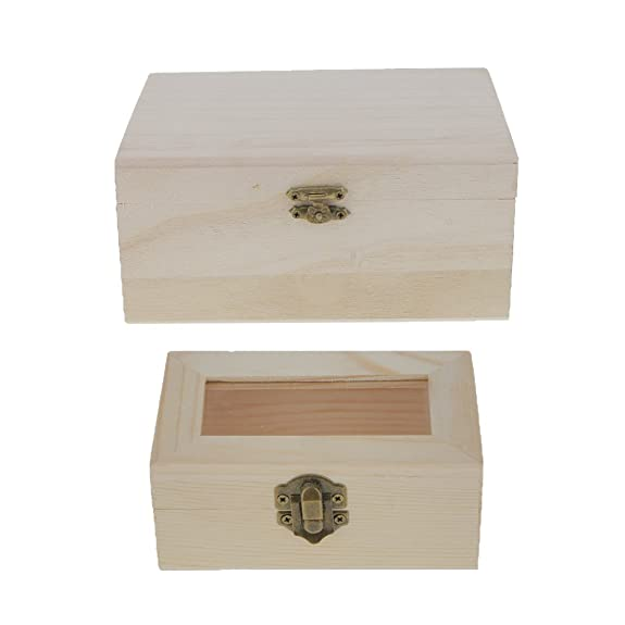 Amazon.com: MonkeyJack 2 Pieces Unfinished Plain Wooden Jewellery Jewlry Box Keepsake DIY Findings: Jewelry