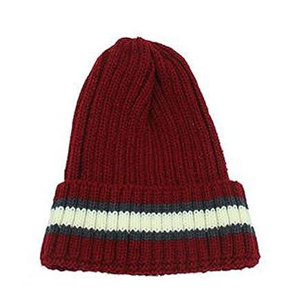 a0d03ec076e9b2 Striped Line Fleece Beanie Hat Women Mens Winter Solid Color Warm Knit Ski  Skull Cap (Red): Arts, Crafts & Sewing