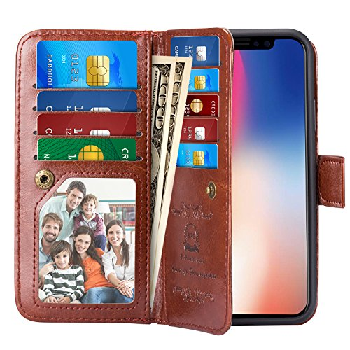 PASONOMI iPhone X Case, iPhone X Wallet Case with Detachable SlimCase - [Folio Style] PU Leather Wallet case with ID&Card Holder Slot Wrist Strap for Apple iPhone X 5.8 inch 2017 (Brown)