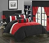 Chic Home 20 Piece Mackenzie Complete Pieced Comforter Set, Queen, Red