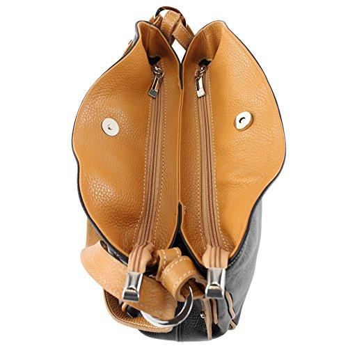 Leather modamoda T119 de Shoulder Bag Shoulder Bag Leather Camel Shoulder Bag ital Case Black qrrEU