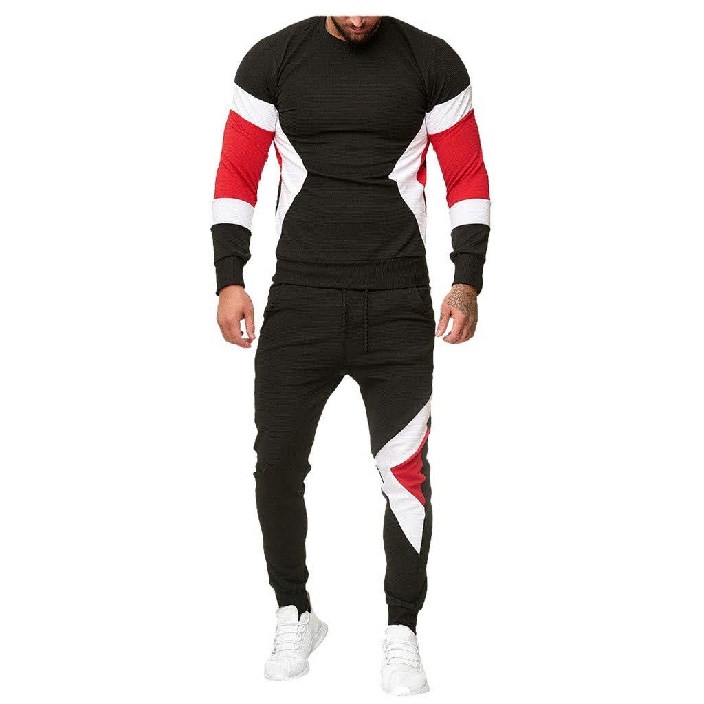 Men's Tracksuit Set Sportsuit Sportswear Slim Fit Sweatshirt Pullover Tops + Jogging Pants Sweatpants (Black, L) by Jieou