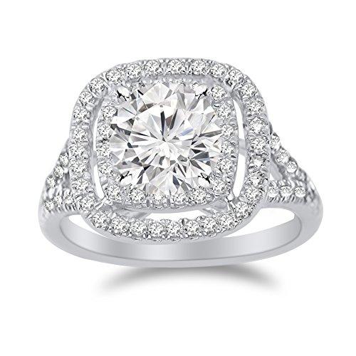2.6 Carat Cushion Double Row Halo Split Shank Diamond Engagement Ring with a 2 Carat Moissanite -