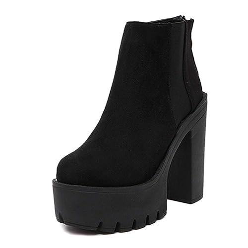 Mujeres Plataforma Zapatos otoño Invierno Zapatos de tacón Alto botín Espesor Cremallera Botas Damas: Amazon.es: Zapatos y complementos