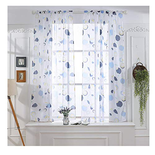 Voile Circle - Circle Pattern Sheer Curtains,Tulle Curtain Voile Drape Valance,Modern Smooth Floral Sheer Window Curtains for Dining Room,Living Room,Bedroom (C)