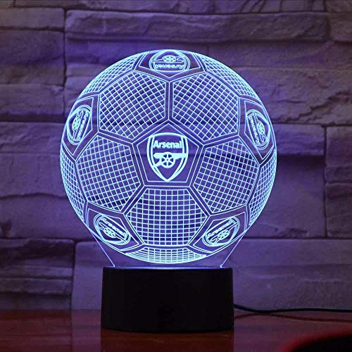 Lifme Arsenal Fc Lamp Optique Led Illusion 3D Football Table Lamp Home Bedroom Color Activate Mood Lighting Novelty Gifts ()