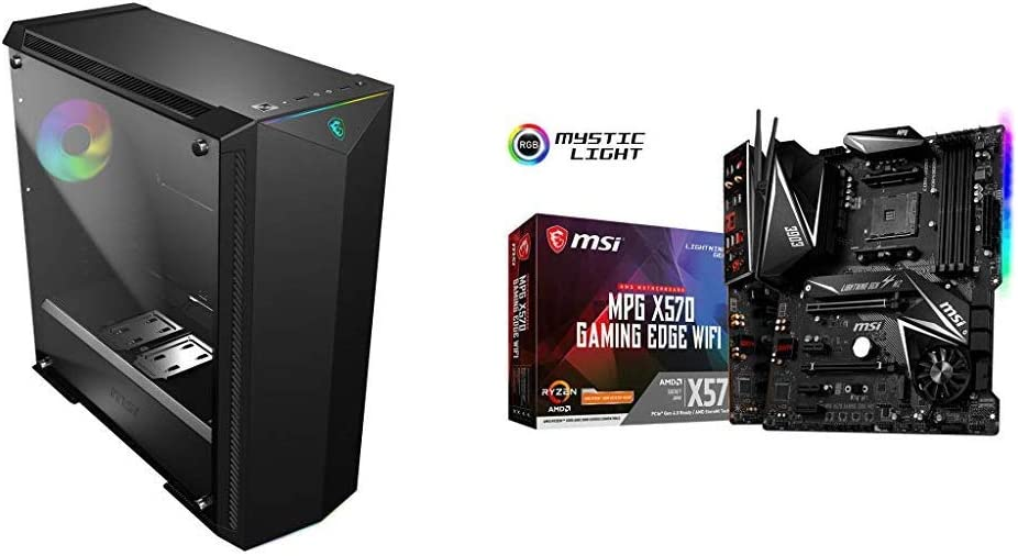 MSI Premium Mid-Tower PC Gaming Case and MPG X570 Gaming Edge WiFi Motherboard