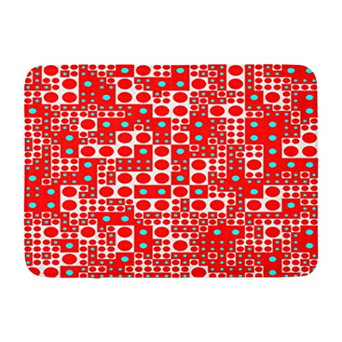 Psychedelic Soopat Bath Mat,Art Just Squares and Circles Red Cyan White Black Psychedelic Wallpaper Absorbent Non-Slip,Quick-Dry,Bathroom Rugs for Bathroom Indoor Doormat 17''L x 24''W