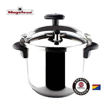 MAGEFESA STAR Olla a presión rápida, fácil uso, acero inoxidable 18/10, apta para inducción RECTA 8L