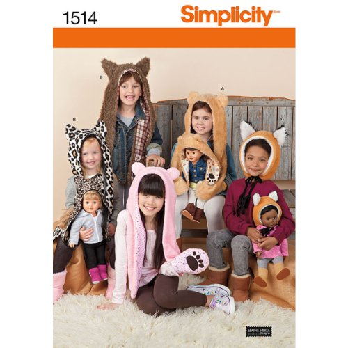 Fabric Hat Pattern - Simplicity 1514 18'' Doll and Girl's Animal Hat Sewing Patterns, Sizes S-L