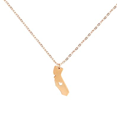 Amazoncom California Map Necklace Rose Gold Stainless Steel Map