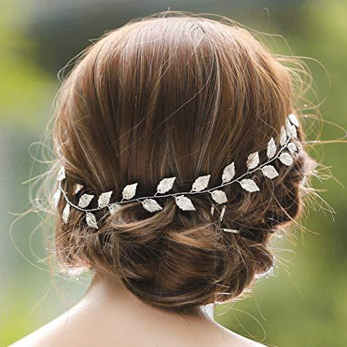 Yean Wedding Headband Gold Leaf Bridal Headpieces for Bridesmaid and Flowergirls (15.7 Inches)(Silver)