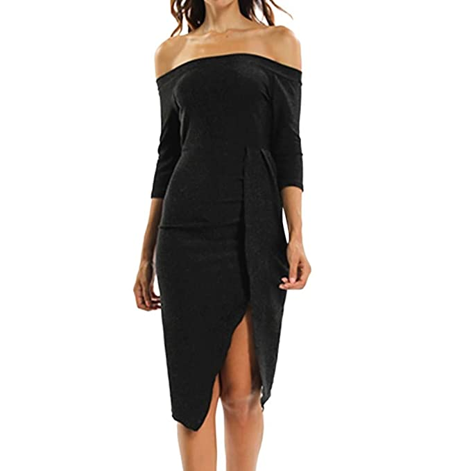 AMSKY Maxi Dress with Sleeves,Women Cold Shoulder Half Sleeve Sexy Dress Prom Dress Splice