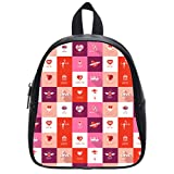 JIUDUIDODO Multifunctional PU Leather Hearts Love Kisses Presents Pink Red Purple Color School Bags Backpacks Outdoor Bags Travel Bag (Large)